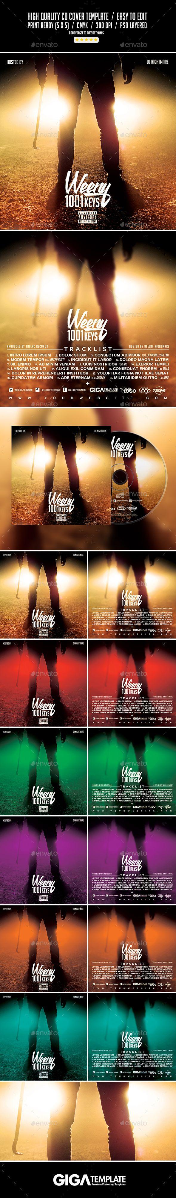 1001 Keys | Dark Album Music Mixtape CD Cover Template
