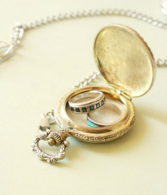 Vintage Pocket Watch Ring Bearer Pillow with Chain 'Time is Love'. $50.00, via Etsy. I need this!