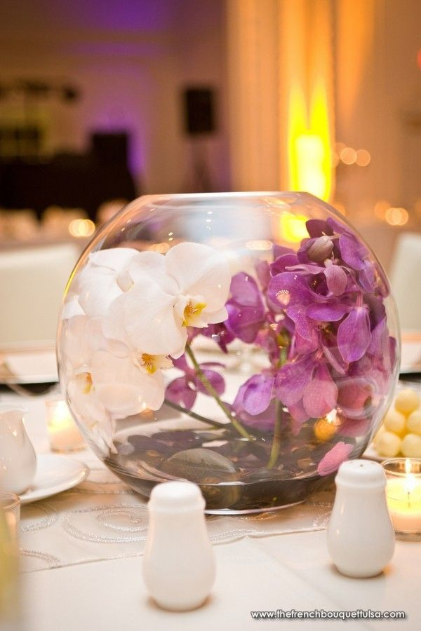 Centerpiece of Purple Mokara Orchids and White Phalaenopsis Orchids - The French Bouquet - Chris Humphrey Photographer