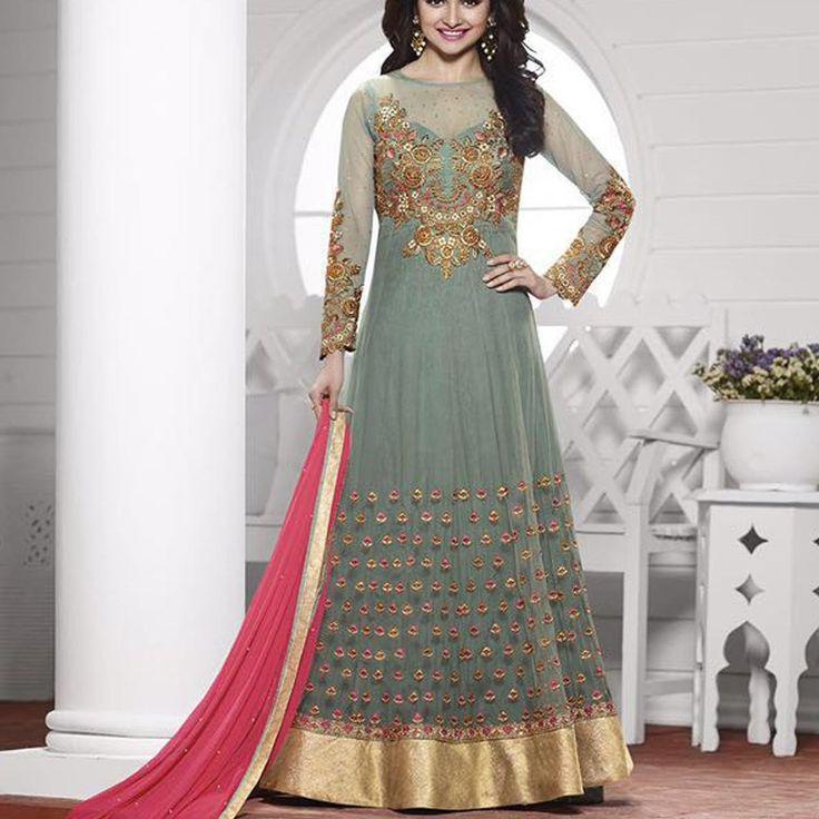 Prachi Desai Grey Bollywood Anarkali Dress » Shoppers99 #prachidesai #bollywoodactress #bollywood #anarkali #partywear #partydress #heroin #ethnicwear #ethnic