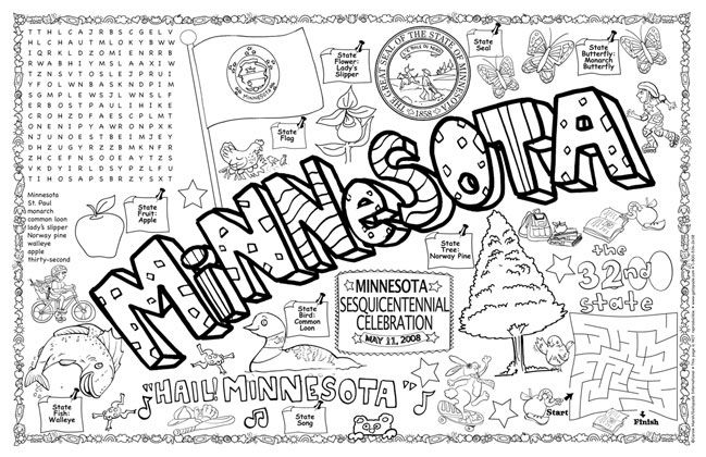 minnesota state symbols coloring pages - photo#2