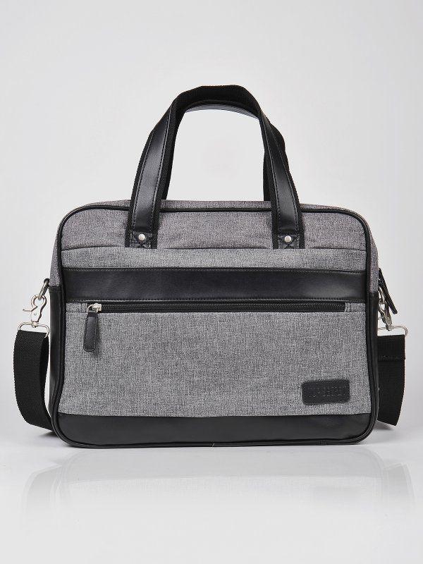 torba na laptopa męska szara - SBG0750 TOP SECRET