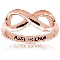 Fabulous Sterling Silver Rose Gold Plated Best Friends Infinity Ring