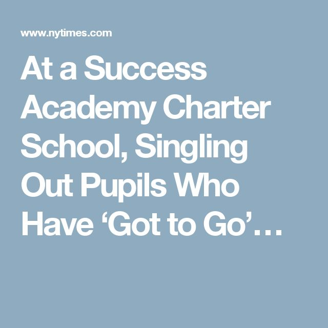 At a Success Academy Charter School, Singling Out Pupils Who Have 'Got to Go'…
