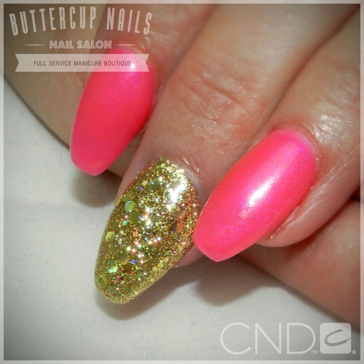 CND Shellac in fluoro pink pigment over Future Fuschia with gold glitter feature nails. Over acrylic sculpted nails.    #CND #CNDWorld #CNDShellac #Shellac #FutureFuschia #FluoroNails #AcrylicNails #GlitterNails #ButtercupNails