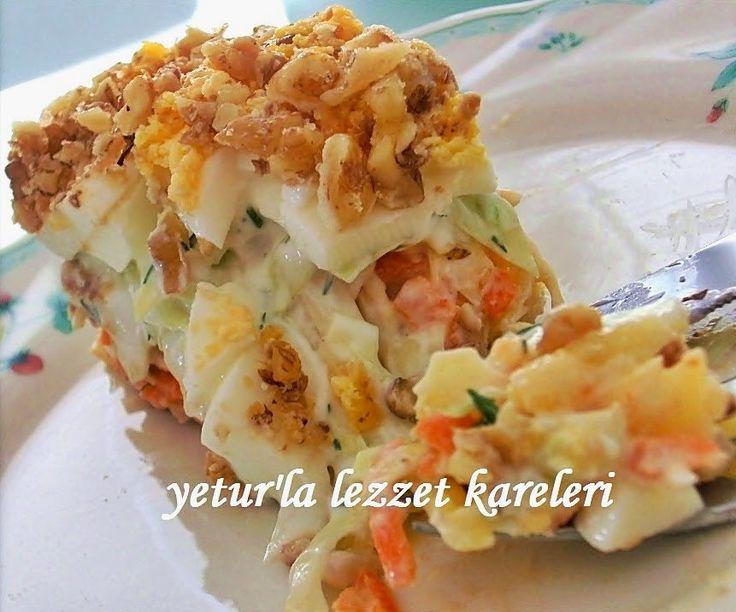 gelinimiz jane'den öğrendiğim rus mutfağına ait nefis bir salata. salatanın harcında dileyenler lahana yerine ton balığı vey...