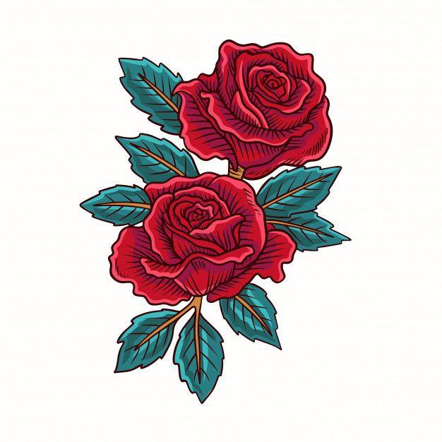 Red Rose Flower Vector Di 2020 Gambar