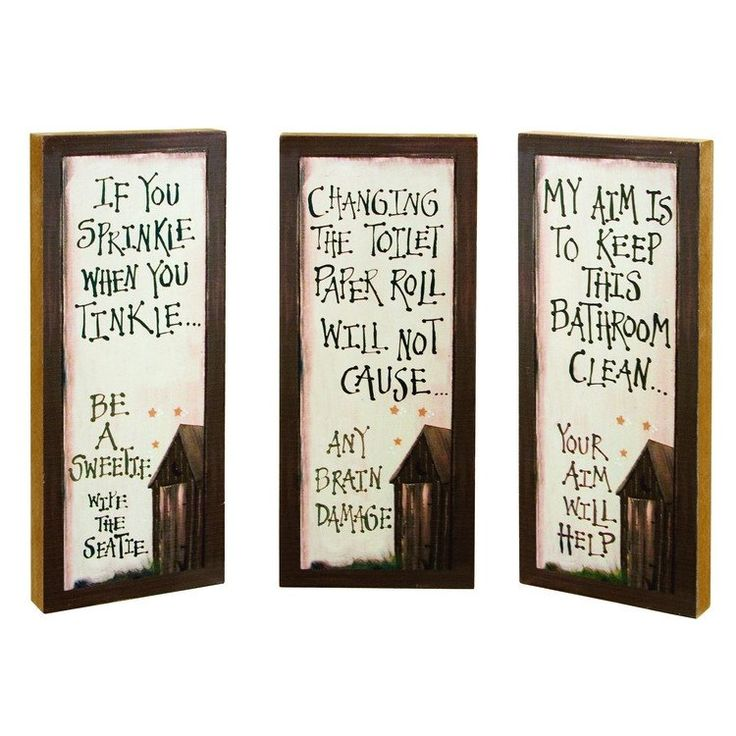 Outhouse Etiquette Blocks 2 Assorted Bathroom Decor Free Shipping