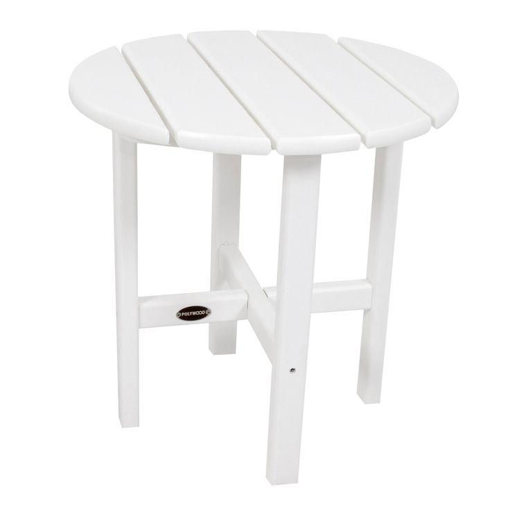 Polywood Round Patio Side Table - White