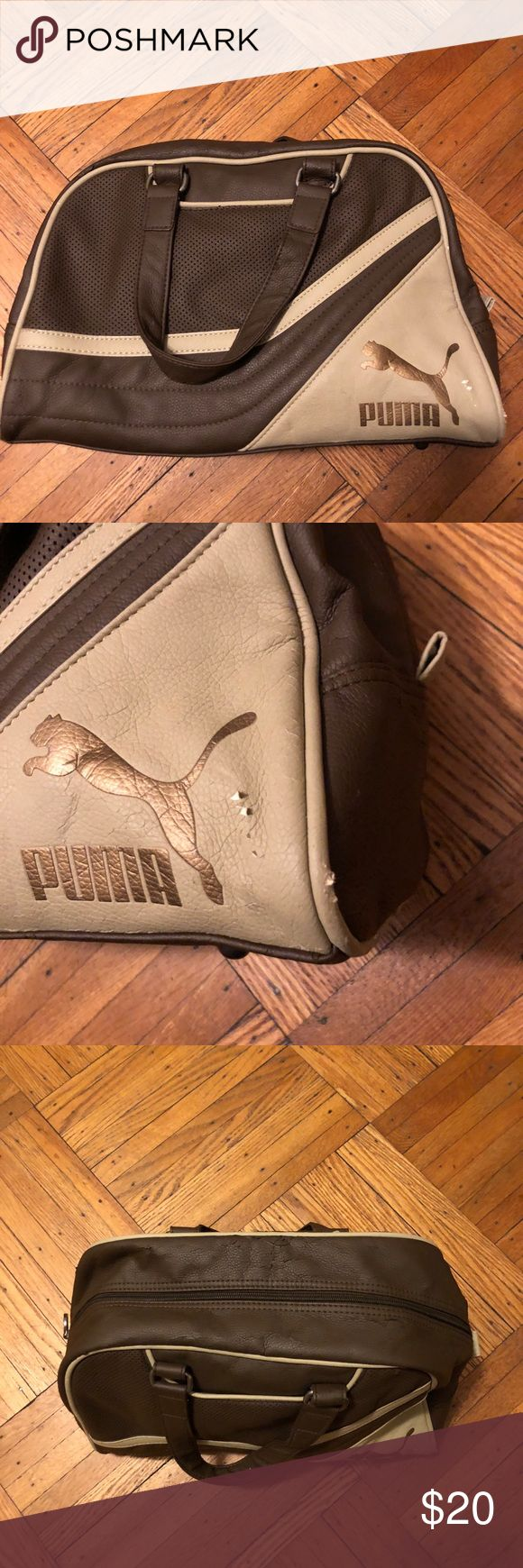 Authentic Puma Bowling Bag Style Bag Authentic Puma bowling bag style sports bag. Item is used has some slight cracking in material. Bag is Brown. Puma Bags Mini Bags