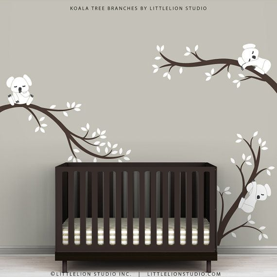 brown crib, gray walls - Baby Nursery Wall Decal White and Dark Brown - Koala Tree Branches by LittleLion Studio
