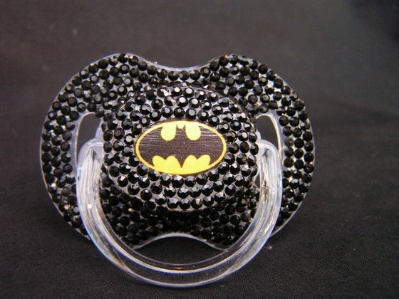 "Batman superhero ""blinky,"" better known as a binky or pacifier. Hilarious"