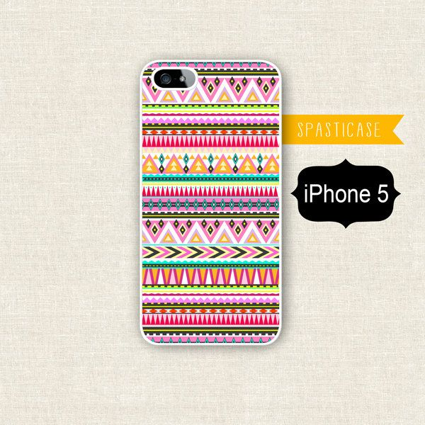 Aztec iPhone 5 Case - Tribal Geometric Pattern Pink Orange Purple Green - Plastic iPhone 5 Case. $15.00, via Etsy.