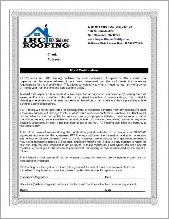 Roofing Certificate Of Completion Template in 2020