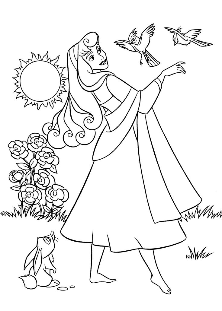 Happy Birthday Princess Sleeping Beauty Coloring Coloring Pages