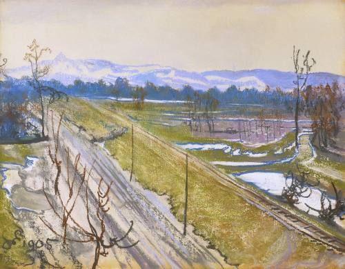 Stanislaw Wyspianski - View of Kosciuszko Mound, 1905.  Pastel.
