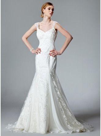 Trumpet/Mermaid V-neck Chapel Train Chiffon Lace Wedding Dress With Ruffle
