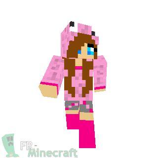 Minecraft : Skin Minecraft : Fille en rose