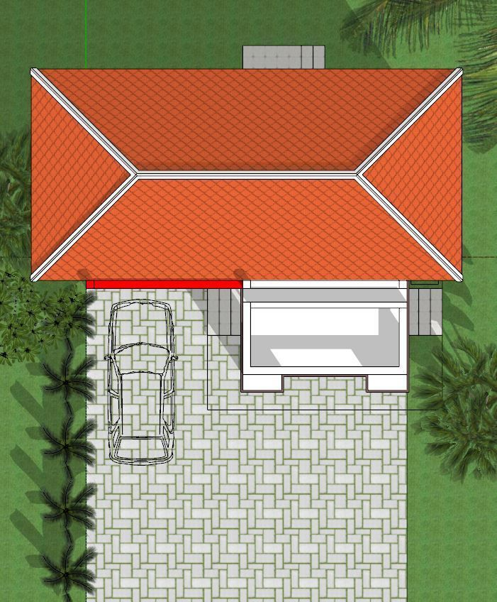 Sketchup Home Design: 8x7M Sketchup Home Design With 2 Bedrooms