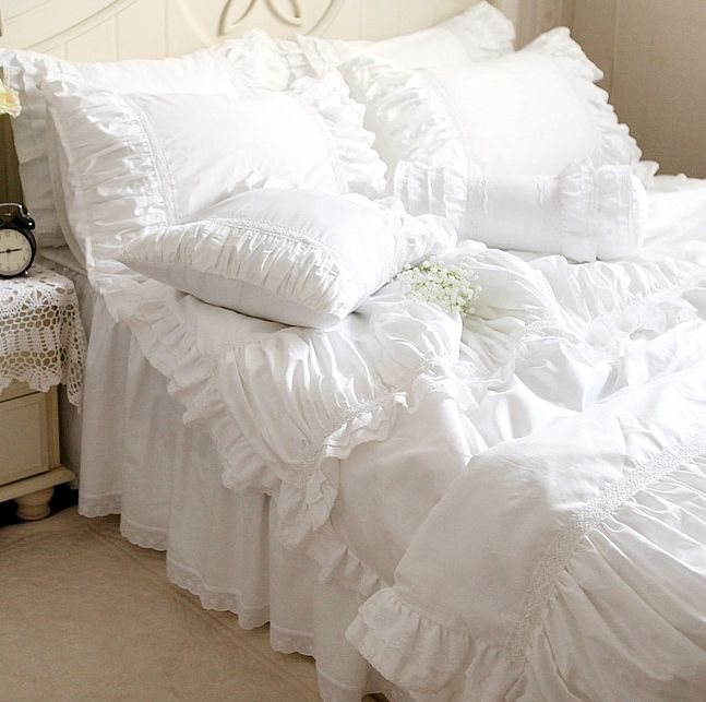 Luxury white lace ruffle bedding set,twin full queen king cotton girl,french princess wed home textile bedspread quilt cover #Affiliate
