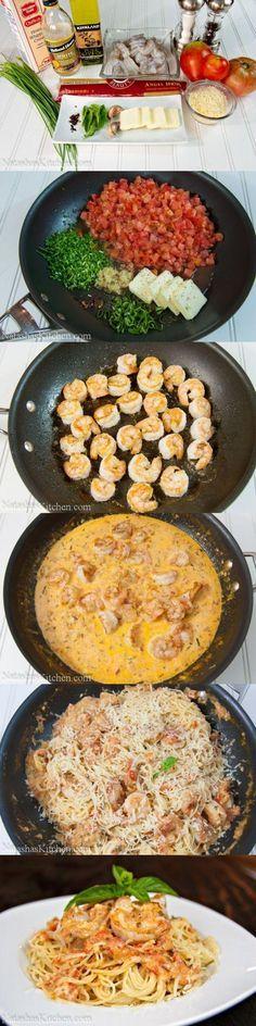 Rezept für leckere Spaghetti mit Shrip in Tomatensauce / recipe for spaghetti with Shrimp in a creamy Ttomato sauce