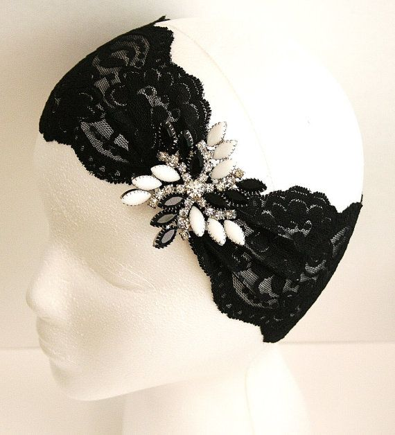 Stretch Lace and Vintage Brooch Headband @fanciestrands