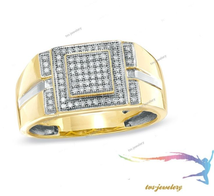 14K Yellow Gold Men's Round 1/2 CT Cluster Diamond Engagement Pinky Rings Band #tvsjewelery #ClusterStyleRing
