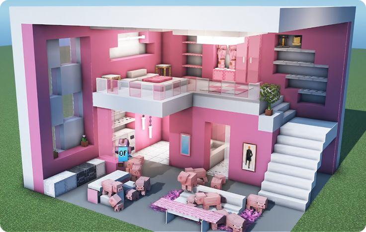Pink Interior Design in 2020   Minecraft house designs ...