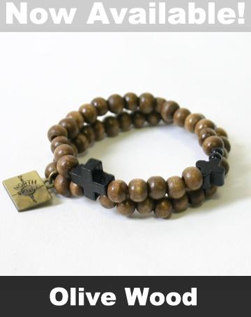 NorthSkull Double Maple Wood Cross Bracelet (Olive)