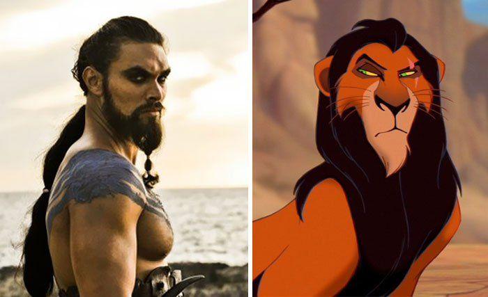 O muso Jason Momoa, como Khal Drogo, em Game of Thrones, é parecedíssimo com o Scar de O Rei Leão.