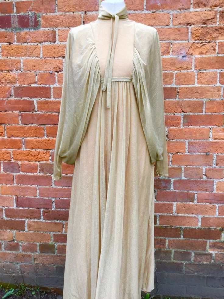TRUE VINTAGE GOLD LAME METALLIC VOILE FLOATY BATWING CAPE MAXI DRESS 8 10 in Clothes, Shoes & Accessories, Vintage Clothing & Accessories, Women's Vintage Clothing | eBay!