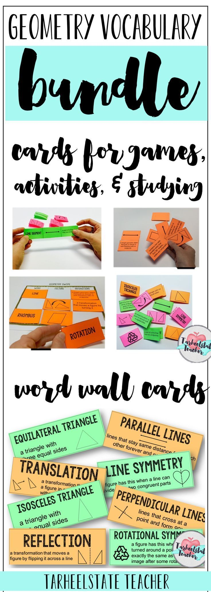 3rd grade, 4th grade, and 5th grade teachers, you are all set to help your students master geometry vocabulary with these geometry activities, games, study slips (study strategy), and a word wall for your classroom. My elementary students LOVE competing in the ultimate geometry challenge as a team to learn their triangle, quadrilateral, angles, lines, and other vocabulary words. All the details are inside the resource!
