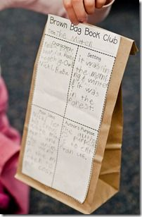 Brown bag book club - each week the class reads a book and fills out an organizer to attach to a brown bag. Then, they discuss likes/dislikes, favorite scene, if there was a new ending, etc. as they fill their bags with pop corn. love it!