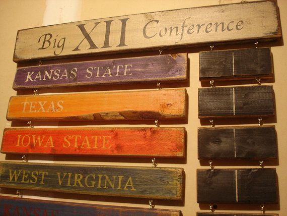 Big 12 Standings board West Virginia Kansas by MyRusticBoardSigns, $125.00