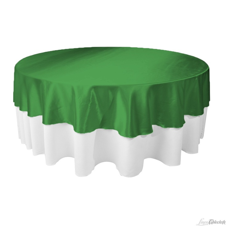Round Satin Tablecloth / Overlay Valley Green At LinenTablecloth.com