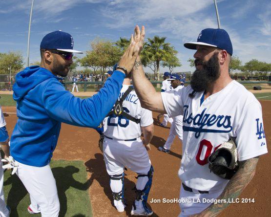 Matt Kemp and Brian Wilson Los Angeles Dodgers workout 2/23/14