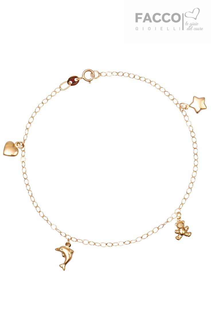 Bracciale bambina, Facco Gioielli, in oro giallo 750‰, pendenti a cuore, delfino, orsetto e stella.