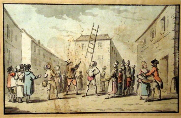 """Street Scene, acrobat (""""Paire d'Aquarelles,"""" Autrefois en Gascogne, Proantic.com)"""