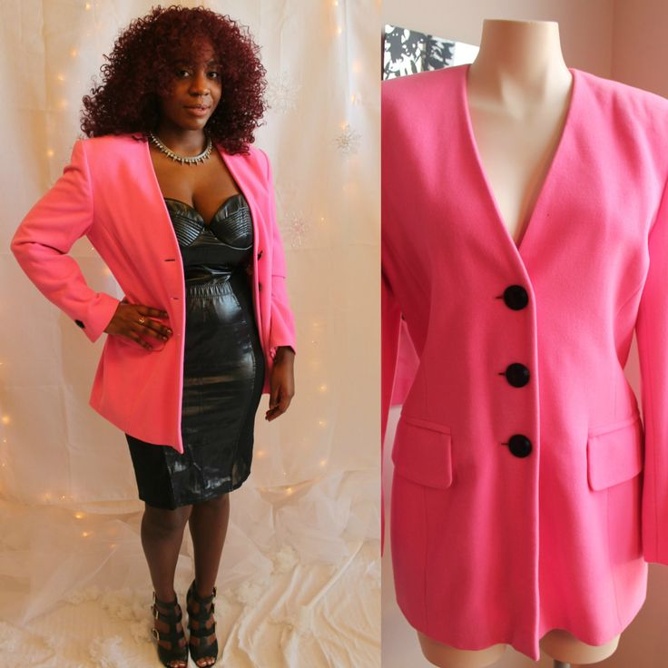 90's Neon Bright Pink Escada by Margaret Ley Jacket Size 40 Medium 8/10 by HotMamaVintage on Etsy