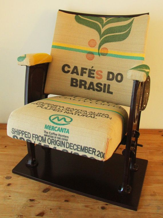 The seat, back and arms have been covered with a brasilian coffee sack used to transport unroasted coffee beans.
