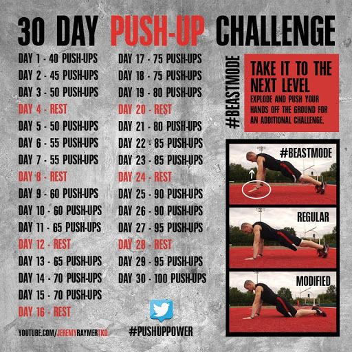 30 Day Push-Up Challenge! Lets do this! Gotta get my fitness and exercise in... because strong is the new sexy! workout?