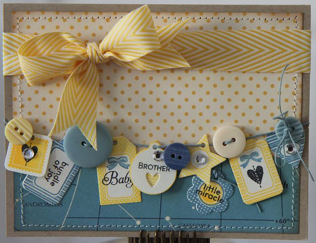 Precious Baby Card...with buttons & embellishments...love the blue with the yellow.