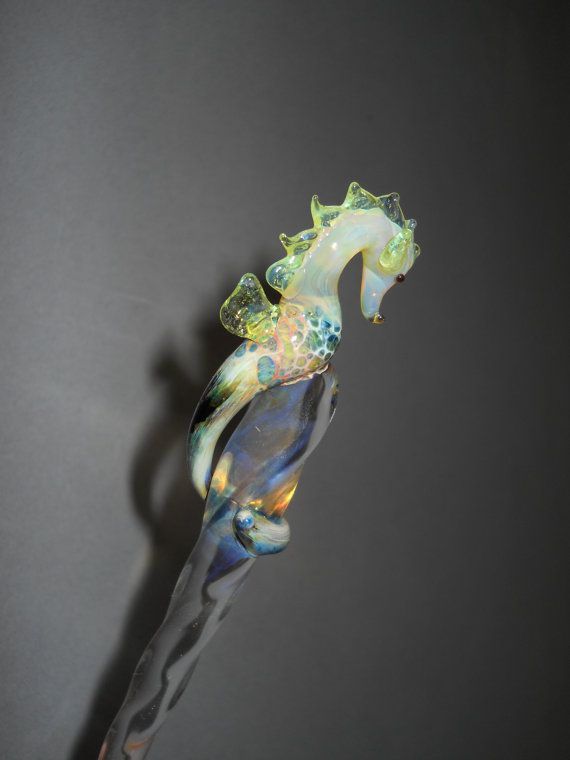 Glass Sea horse Hair Stick accessory by Glassnfire on Etsy