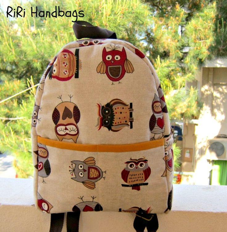 Retro Owl Backpack - RiRi Yfasma (RiRiYfasma.gr)