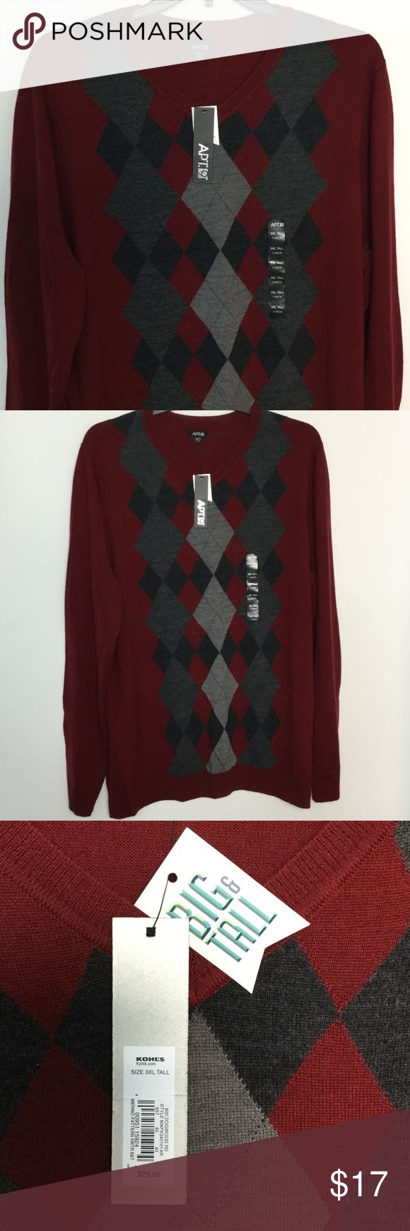 """Apt. 9 V Neck Sweater 3XL Argyle Burgundy Gray NWT NWT New With Tags Retail price $75 Men's 3XLT Big & Tall V-neck Sweater Burgundy Black Gray Argyle Diamond  50% Merino wool 50% Acrylic  Measures chest underarm to underarm 28"""" length 33"""" 7.5 bin 17 Apt. 9 Sweaters V-Neck"""