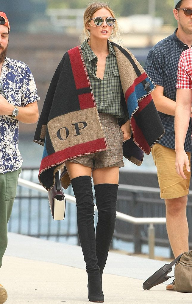 Olivia Palermo in a Burberry poncho and Dior sunglasses in New York