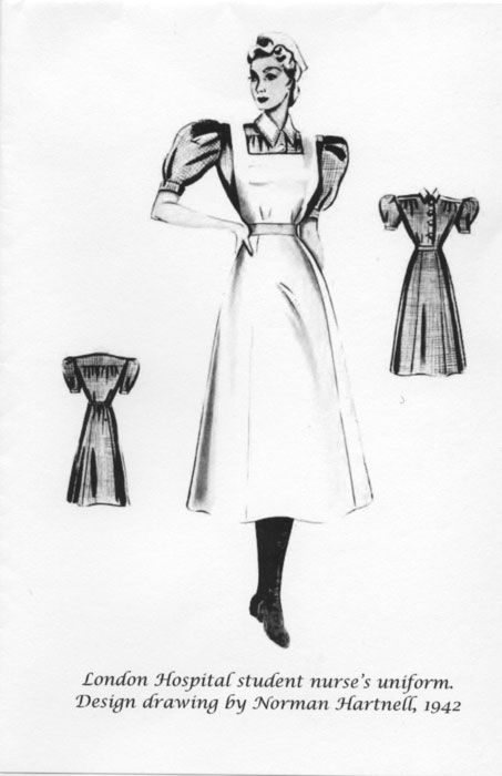 Royal London Hospital student nurse uniform, designed by Normal Hartnell in 1942. From the Royal London League of Nurses website, where you can buy prints of this picture as cards.