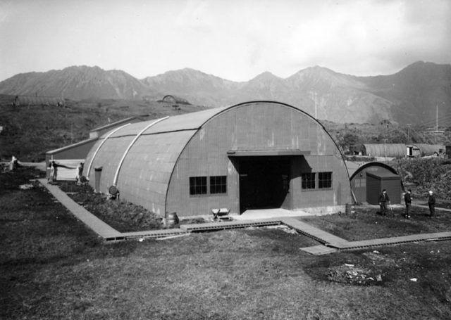 at the U.S. base on Attu in the Aleutian Islands. circa 1943-1944. Photo Credit