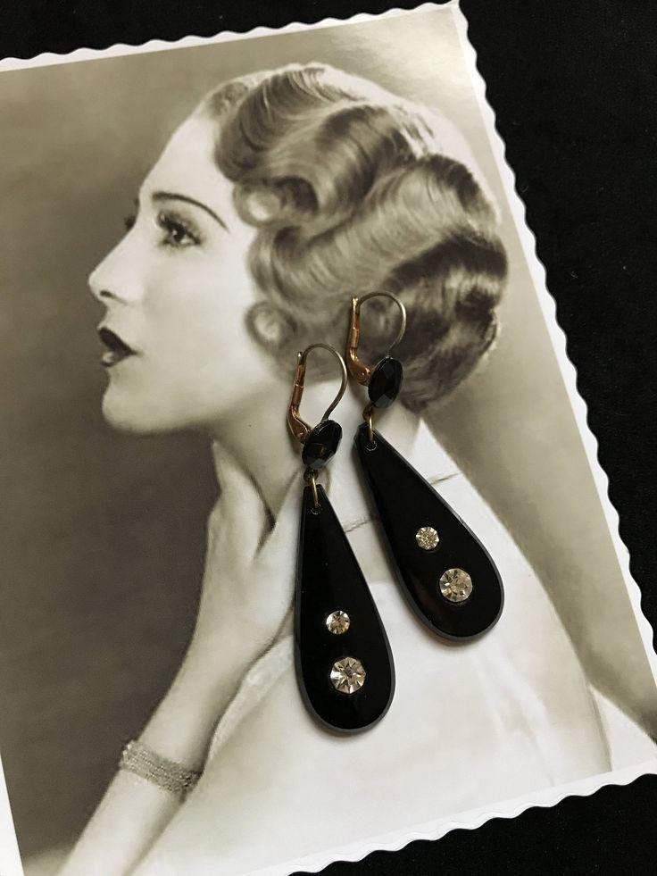 Rare - Boucles d'oreille - Pendants antiques Art Déco de 1920 en cristal noir et 2 strass - Années Folles Miss Fisher Cadeau