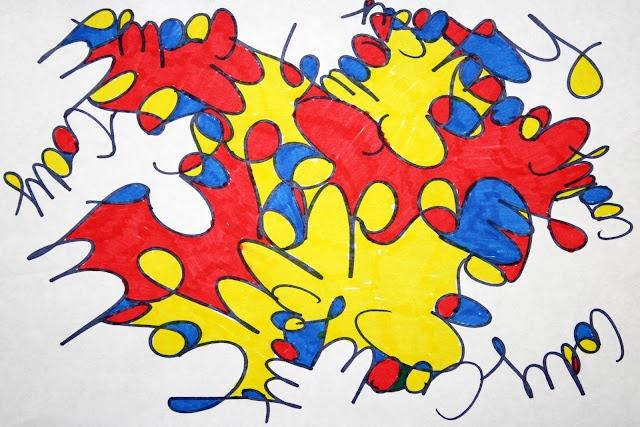 Geschreven woorden kunstig inkleuren - Leerlingen schrijven hun naam verschillende keren door elkaar. - Leerlingen noteren eigenschappen over zichzelf door elkaar.